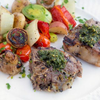 Marinated Grilled Lamb Chops with a Mint Pesto