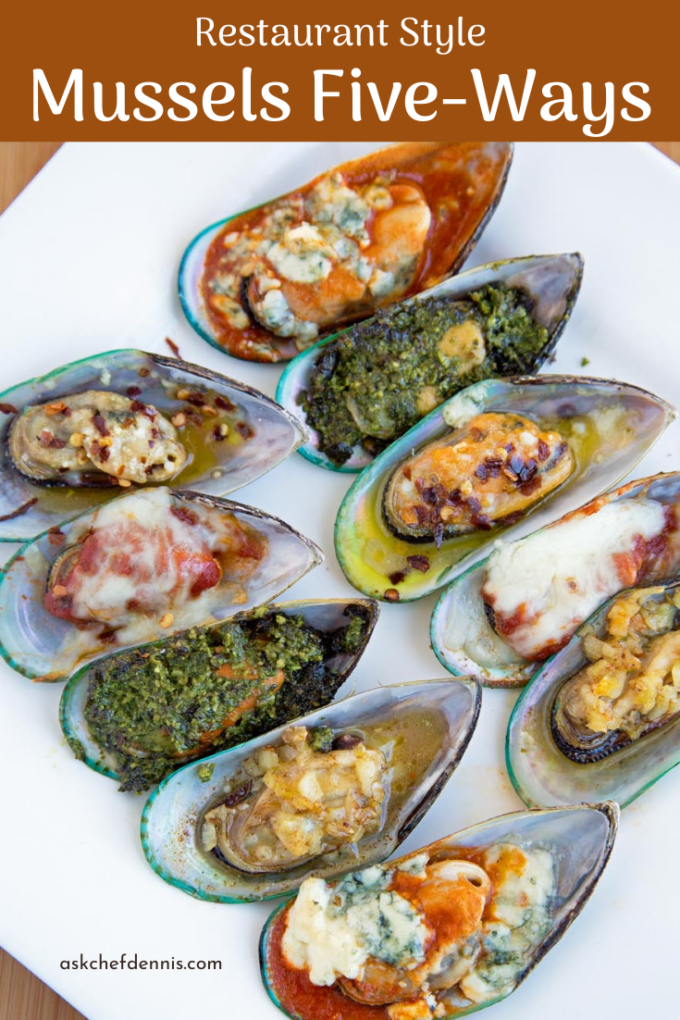 Pinterest image for mussels five-ways