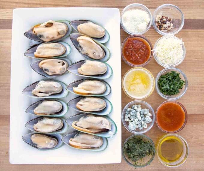 overhead views of ingredients to make Mussels five ways