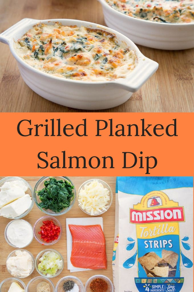 Create some summertime deliciousness for your next get together with my Grilled Planked Salmon Dip!It's always a party when you bring out the Mission Tortilla Chips. Just make sure to have enough on hand to keep your friends & family happy!  #salmon #grill #summertime #dip #recipe