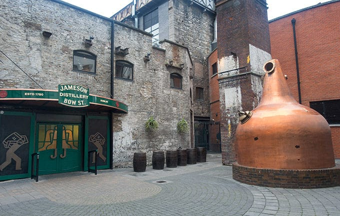 Outside the Jameson Whiskey Distillery in Dublin Ireland