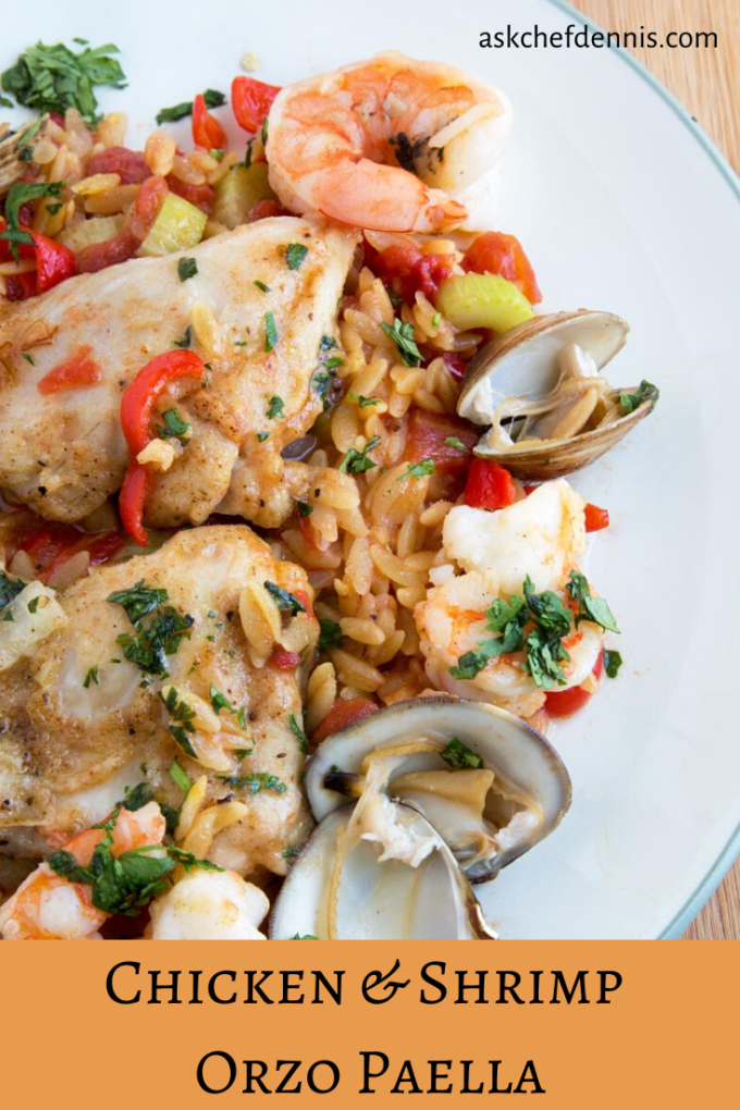 Chicken & Shrimp Orzo Paella Pinterest image