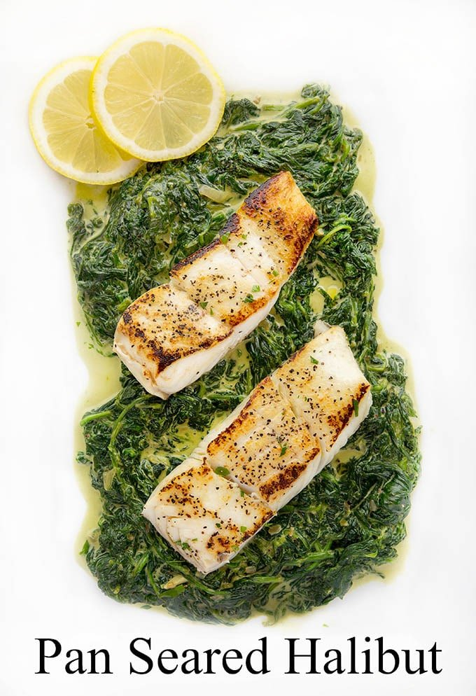 This restaurant-style dish is easier to make than you think.  Wouldn't my Pan Seared Halibut with creamed spinach make a delicious date night dinner?  Or impress your friends at your next dinner party?  I promise you'll love every bite of this easy to make recipe.