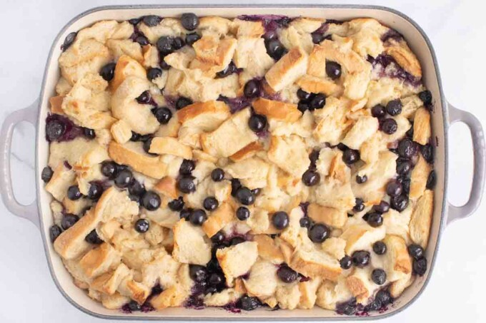 overhead view of baked blueberry bread pudding