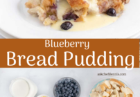 pinterest image for blueberry bread pudding