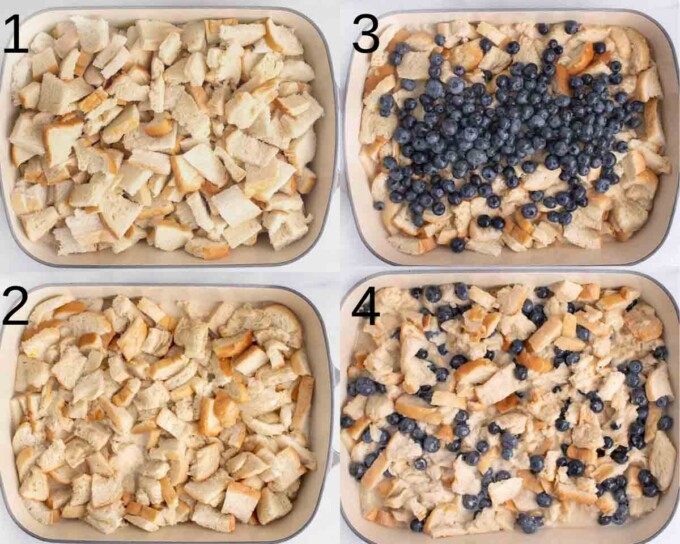 four images showing how to make blueberry bread pudding