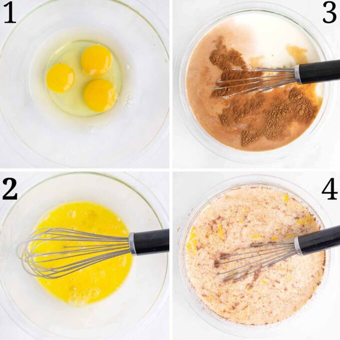 four images showing how to make the custard for the bread pudding
