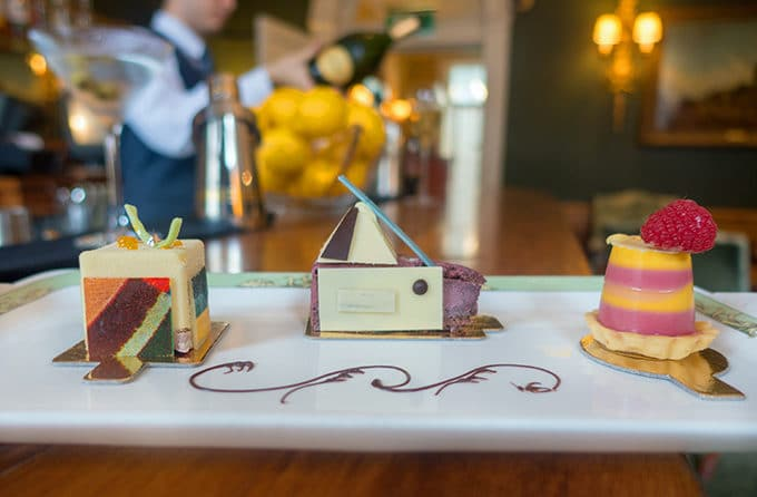 desserts on a white tray at art tea at the Merrion Hotel in Dublin