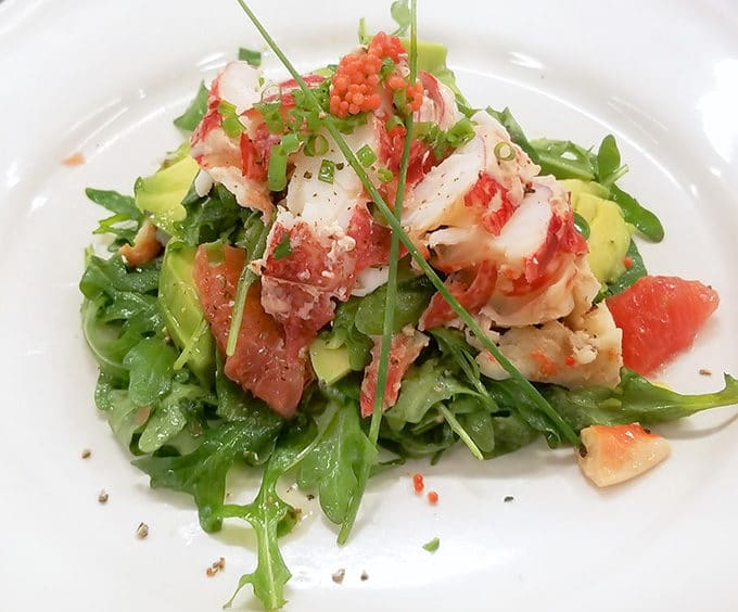 lobster salad on a white plate at the Howth Castle Cookery School