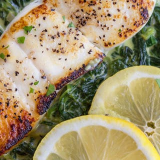Pan Seared Halibut with Creamed Spinach Recipe