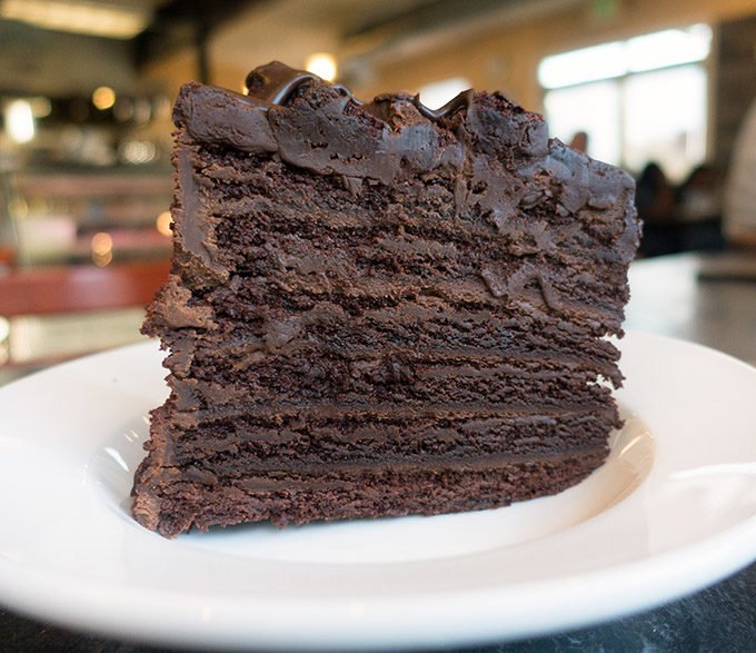 seven layer chocolate cake at Seabolts Smokehouse