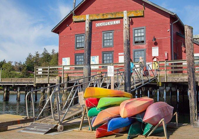 Kayaks on the dock in Coupeville, Washington