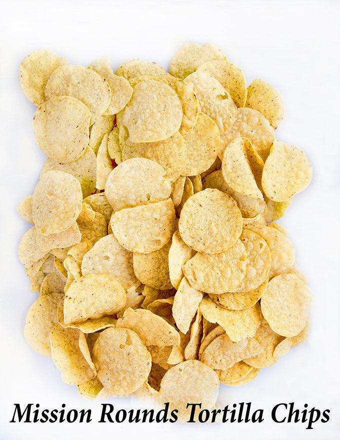 mission round toritilla chips on baking pan