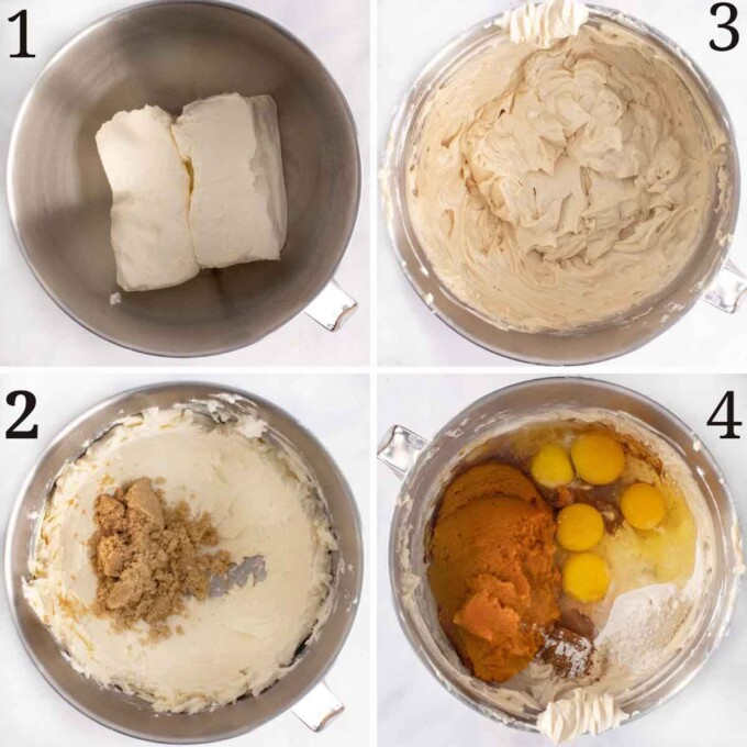 four images showing how to make the pumpkin cheesecake batter