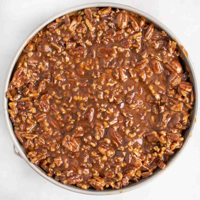 praline topping on cheesecake in pan