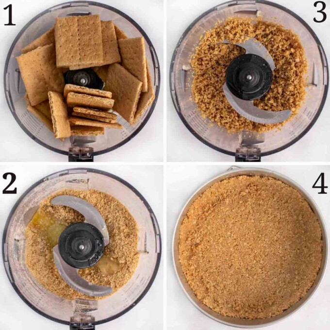 four images showing how to make crust for  the cheesecake