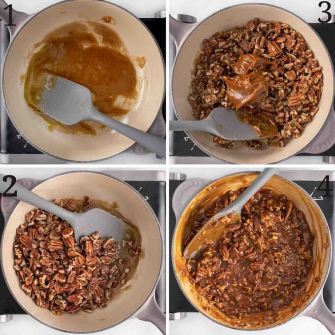 four images showing how to make the praline topping