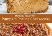 pinterest image for pumpkin praline cheesecake