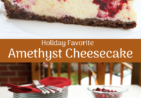 pinterest image for amethyst cheesecake