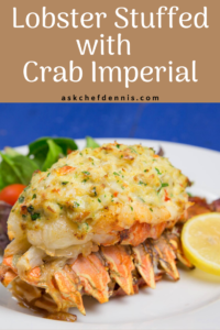 Pinterest image for lobster stuffed with crab imperial