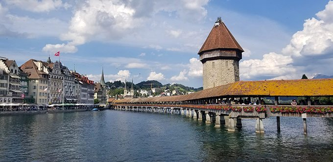 The Kapellbrücke in Lucerne with its Wasserturm (water tower) seen in the middle.