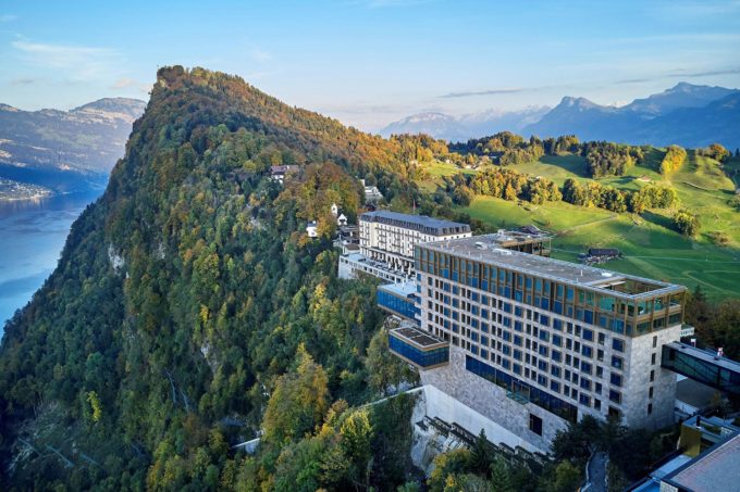 arial view of Burgenstock Resort in Lucerne Switzerland
