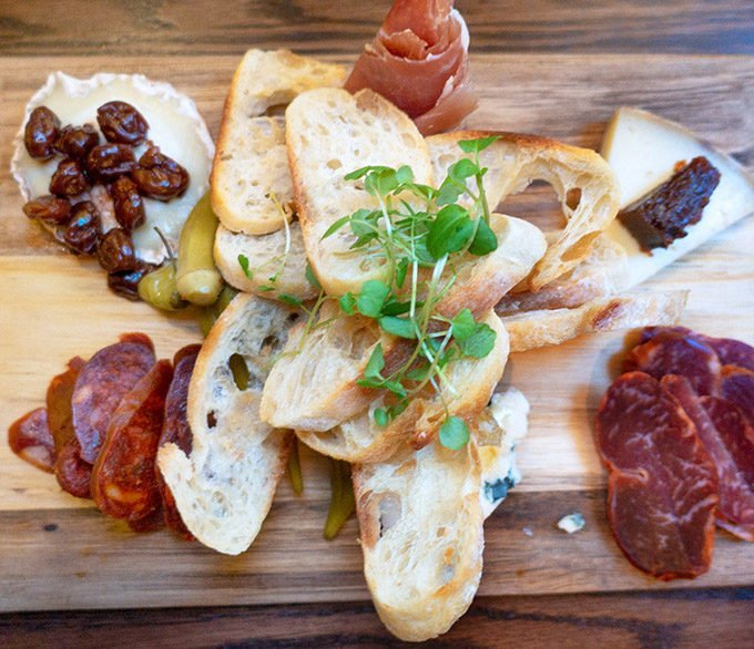 charcuterie on a wooden board at Michaels tasting room