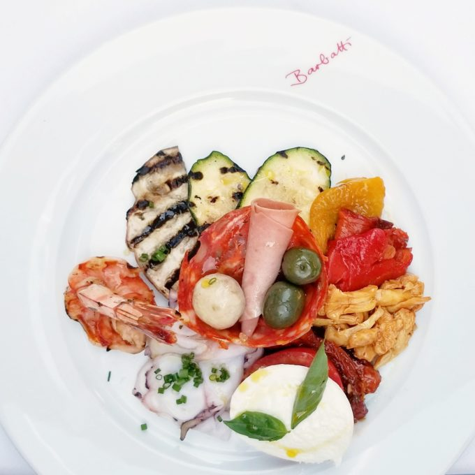 Antipasto on a white plate