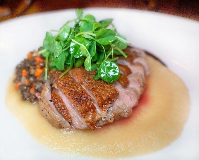 seared duck breast with French Green Lentils and a parsnip puree