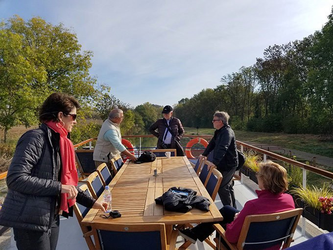 Guests on board la belle epoque barge cruise