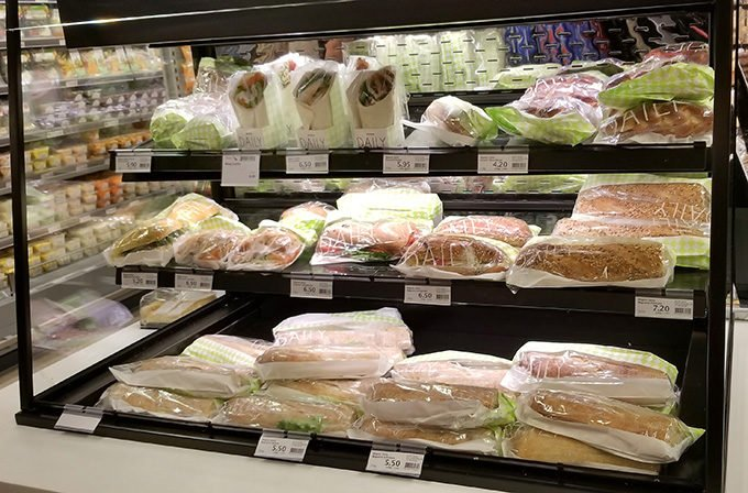freshly made sandwiches on display at Migros in Lucerne, Switzerland