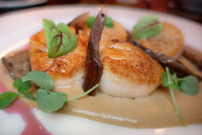 pan seared scallops with a sauce on a white plate with micro greens