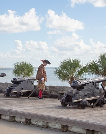 soldier over looking the bay at Castillo de St. Marcos in St. Augustine