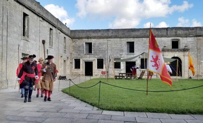 soldiers marching inside of Castillo de San Marcos