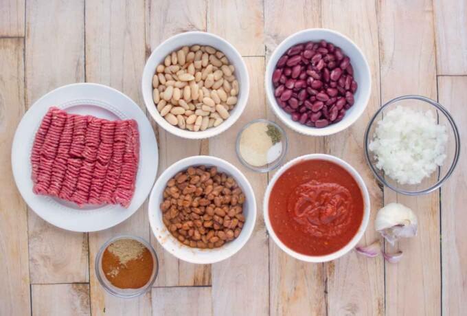 Ingredients to make three bean chili
