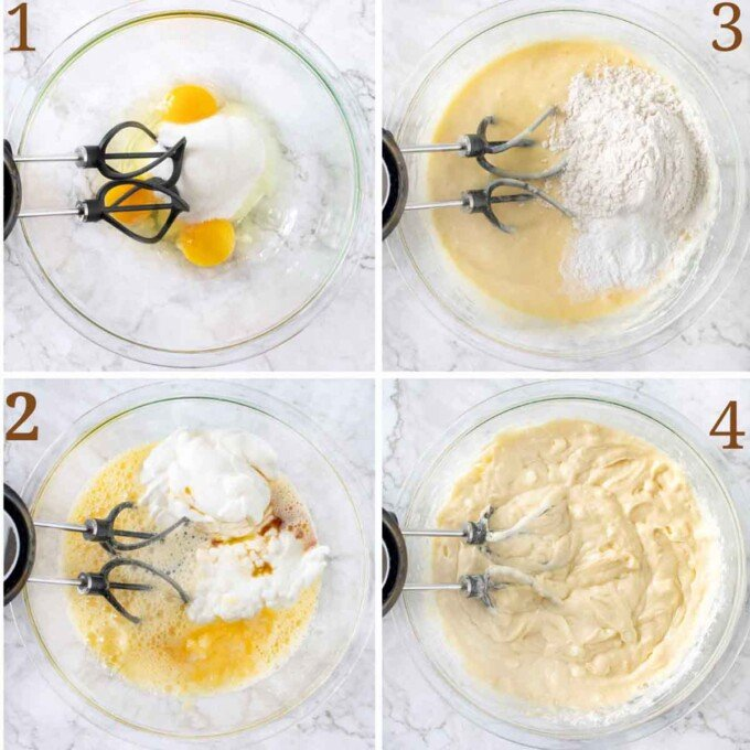 four images showing how to make the breakfast cake batter