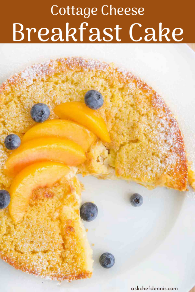 pinterest image for peaches and cream breakfast cake