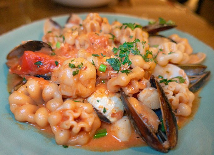 frutti de mare in a green bowl