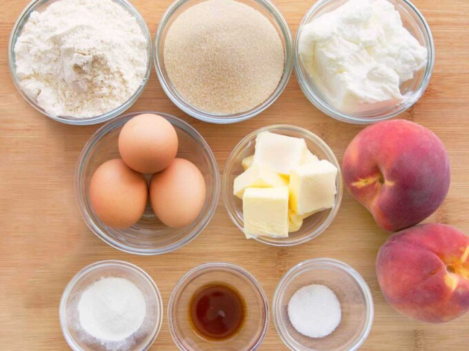 overhead view of ingredients to make cottage cheese breakfast cake