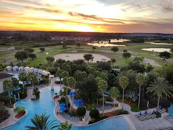 sunset from the 8th floor of the omni resort championsgate