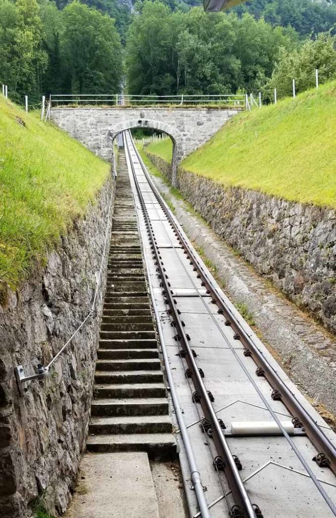 funicular tracks and stairs, Burgenstock resort