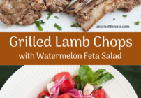 Pinterest image for grilled lamb chops and watermelon feta salad