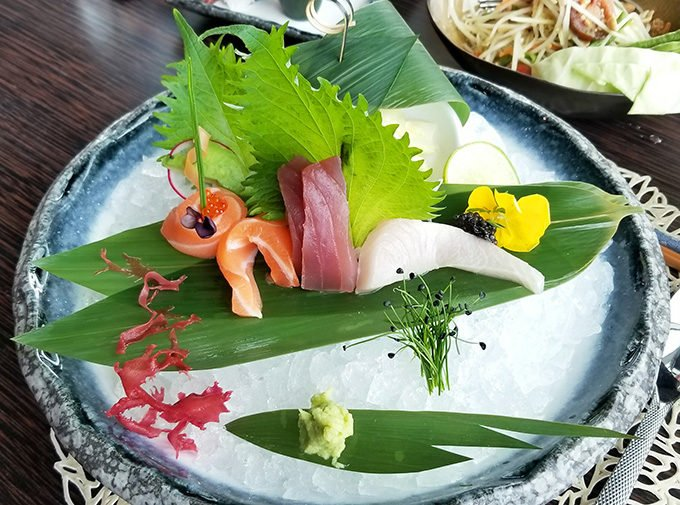 sashimi at Spices Kitchen Burgenstock Resort