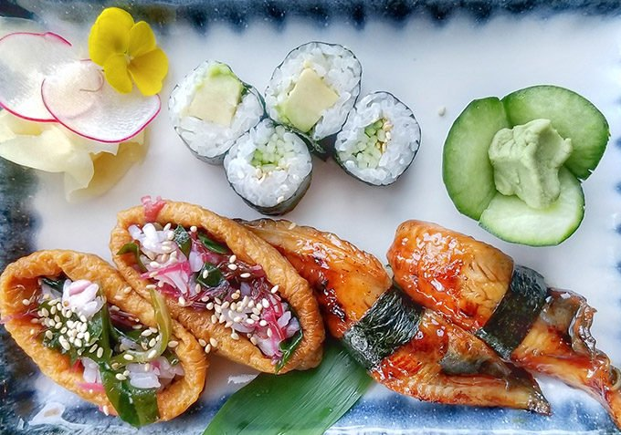 variety of cooked sushi at Spices Kitchen Burgenstock resort