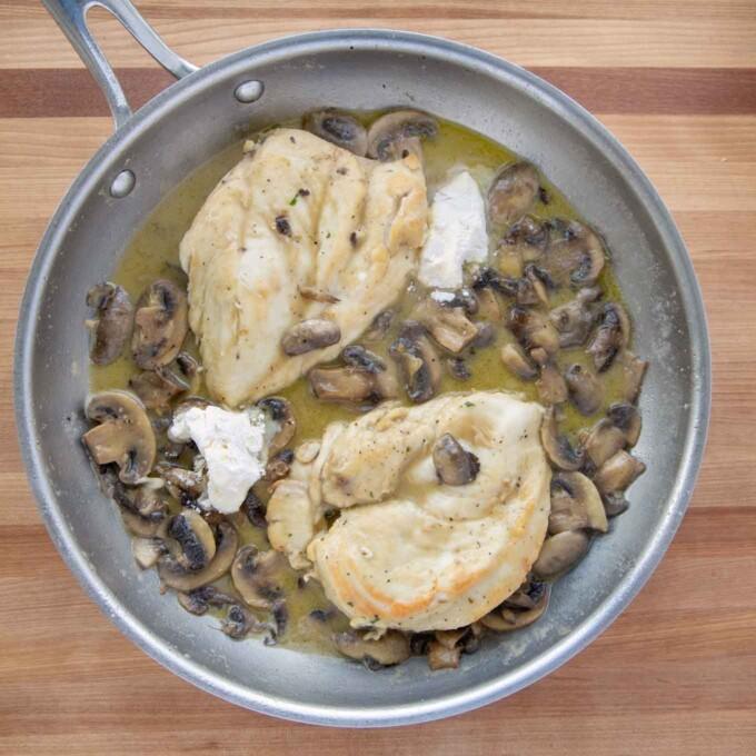 beurre manie added to chicken marsala in saute pan