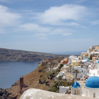 view of Santorini's Icon blue domes