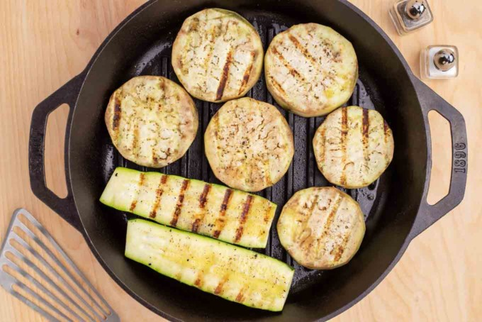 eggplant and zucchini grilled using a grill pan