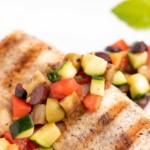 close up of grilled mahi-mahi with caponata