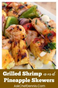 pin for grilled shrimp and Pineapple skewers