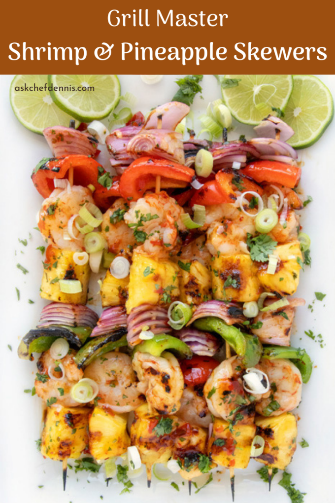 Pinterest image for grilled shrimp and pineapple skewers